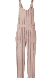 Rag And Bone Nina Striped Linen Blend Jumpsuit Pastel Pink