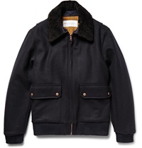 Private White V.C. Shearling Trimmed Wool Bomber Jacket Blue