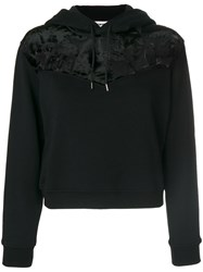 Mcq By Alexander Mcqueen Devore Mix Hoodie Silk Cotton Viscose S Black