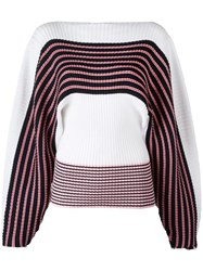 Msgm Loose Sleeves Striped Jumper White