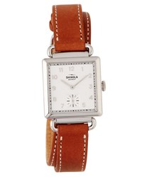 Shinola The Canfield Square Watch W Leather Strap White Bourbon