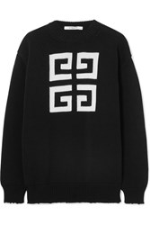 Givenchy Distressed Intarsia Cotton Sweater Black