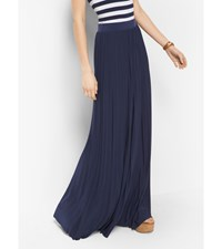 Pleated Jersey Maxi Skirt True Navy