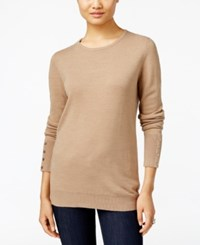 Jm Collection Crew Neck Button Cuff Sweater Only At Macy's Acorn Heather