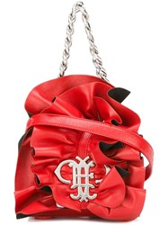 Emilio Pucci Ruffled Front Clutch Red
