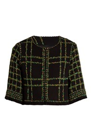 Andrew Gn Floral Tweed Cropped Jacket Black Multi