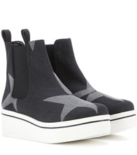Stella Mccartney Binx Denim Platform High Top Sneakers Black