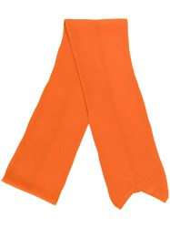 Cedric Charlier Classic Knitted Scarf Unisex Virgin Wool Yellow Orange