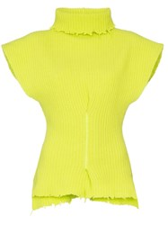 Unravel Project Distressed Turtleneck Jumper Yellow
