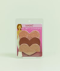 Magic 3 Pack Lace Satin And Sparkle Heart Nipple Covers In Rose Gold Rose Gold