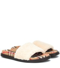 Burberry Shearling And Vintage Check Sandals White