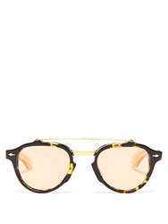 Jacques Marie Mage Cherokee Round Frame Acetate Sunglasses Brown