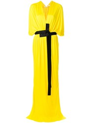 Vionnet Draped Plunge Neck Dress Yellow And Orange
