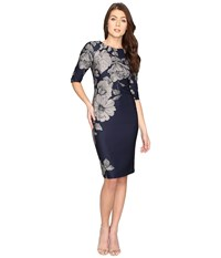 Christin Michaels Bay Floral Bodycon Midi Dress Navy Grey Women's Dress Gray