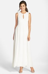 Women's Paper Crown By Lauren Conrad 'Dahlia' Tie Back Sleeveless Keyhole Crepe Gown White