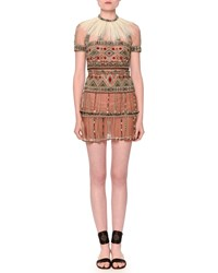 Valentino Short Sleeve Beaded Tulle Dress W Detachable Feather Collar Size 8 Brown Camel Rose