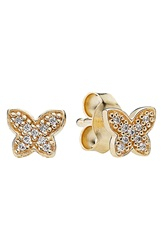 Pandora Design Mini Butterfly Stud Earrings Gold Clear
