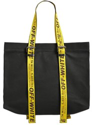 Off White Large Canvas Tote Bag W Logo Straps Black