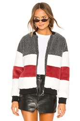 By The Way Ash Stripped Panel Faux Fur Bomber White