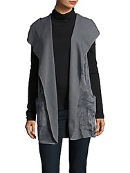 Bobi Open Front Faux Fur Hooded Vest Grey