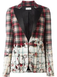 Faith Connexion Distressed Tartan Print Blazer Red