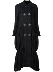 Simone Rocha Ruffle Hem Double Breasted Coat Black
