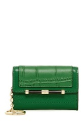 Diane Von Furstenberg Flap Embossed Croc Leather Wallet Green