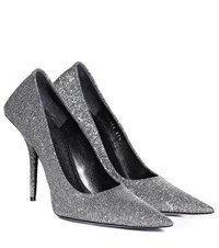 Balenciaga Square Knife Glitter Pumps Silver
