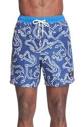Men's Paul And Shark Anchor Print Swim Trunks