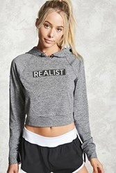 Forever 21 Active Realist Graphic Hoodie Charcoal Black