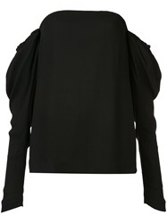 Vera Wang Draped Off Shoulder Top Black