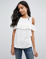 Pieces Ibbi Ruffle Vest Top Cloud Dancer White