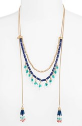 Rebecca Minkoff Beaded Lariat Necklace Navy Multi Gold