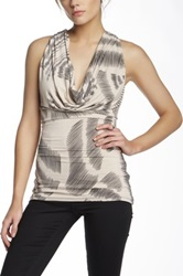 Sky Genuine Leather Back Tank Top Beige