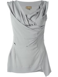 Vivienne Westwood Draped V Neck Fitted Blouse Grey