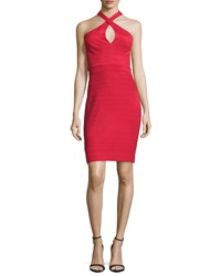 Nicole Miller Crisscross Halter Neck Sheath Dress Red