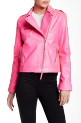 L.A.M.B. Neon Genuine Leather Jacket Pink