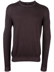 Fay Crew Neck Jumper Brown