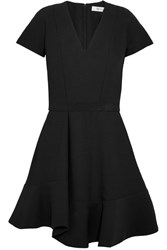 Carven Grosgrain Trimmed Crepe Mini Dress Black