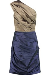 Halston One Shoulder Ruched Taffeta Mini Dress Blue