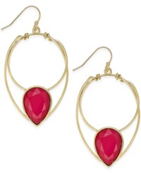 Inc International Concepts Gold Tone Red Stone Drop Earrings Only At Macy's