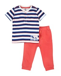 Petit Lem Surf Striped Tee And Sweatpants Set Navy Coral