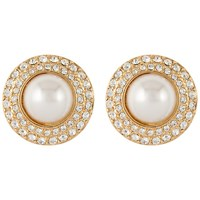 Susan Caplan Vintage 1980S Gross Gold Plated Faux Pearl And Swarovski Crystal Clip On Earrings Gold