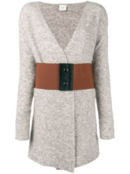 Alysi Belted Fitted Cardigan Grey