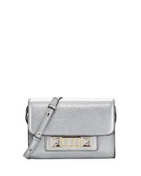 Proenza Schouler Ps11 Metallic Leather Wallet With Strap Silver