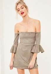 Missguided Grey Bonded Faux Suede Frill Cuff Bodycon Dress
