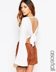 Asos Tall Kimono Sleeve Crop Top With Open Back And Tie Cream