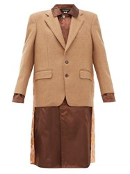 Junya Watanabe Embroidered Satin Panel Wool Blend Blazer Coat Brown Multi