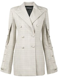 Y Project Oversized Check Buttoned Blazer Women Acetate Wool 38 Nude Neutrals