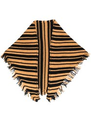 Danielapi Fringed Striped Scarf Neutrals